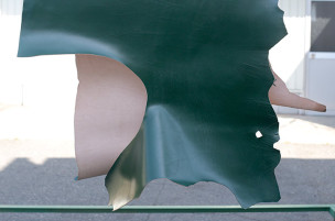 半裁 牛本革 本牛革 革材料 革 皮 皮革 日本製 グリーン